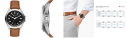 A|X Armani Exchange Men's Drexler Brown Leather Strap Watch 44mm