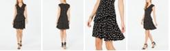Robbie Bee Petite Polka Dot Ruffled Dress