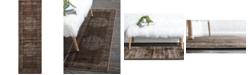 """Bridgeport Home Linport Lin5 Chocolate Brown 3' x 9' 10"""" Runner Area Rug"""