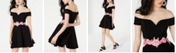 B Darlin Juniors' Off-The-Shoulder Appliqué Dress