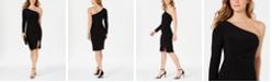 Vince Camuto One-Shoulder Knot-Waist Dress