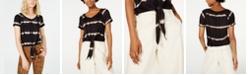 Ultra Flirt Juniors' Printed Tie-Front T-Shirt