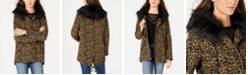 Jou Jou Juniors' Leopard-Print Faux-Fur-Trim Hooded Jacket
