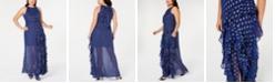 Betsy & Adam Plus Size Ruffled Metallic-Print Gown