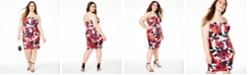 B Darlin Trendy Plus Size Strapless Bodycon Dress, Created for Macy's