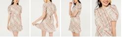 City Studios Juniors' Plaid Puff-Sleeve Dress