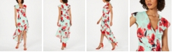 julia jordan Floral High-Low Surplice Dress