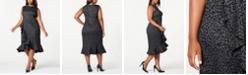 Calvin Klein Trendy Plus Size Animal Jacquard Ruffle Dress