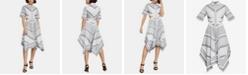 BCBGMAXAZRIA Cotton Printed Cutout Shirtdress