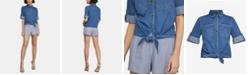 BCBGMAXAZRIA Tie-Front Denim Shirt