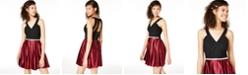 Crystal Doll Juniors' Embellished Colorblocked Fit & Flare Dress