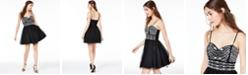 Trixxi Juniors' Embellished Mesh Fit & Flare Dress