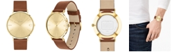 COACH Men's Charles Saddle Leather Strap Watch 41mm