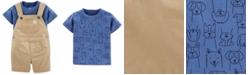 Carter's Baby Boys 2-Pc. Cotton Dog-Print T-Shirt & Shortalls Set