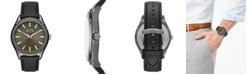 A X Armani Exchange Men's Fitz Black Leather Strap Watch 44mm