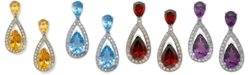 Macy's Semi-Precious Stone Pear and Diamond Drop Earrings in Sterling Silver
