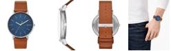 Skagen Men's Signatur Cognac Leather Strap Watch 45mm
