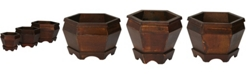 Nearly Natural Wooden Hexagon Decorative Planter - Set of 3
