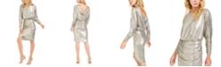 Vince Camuto Metallic Cowl-Back Bodycon Dress