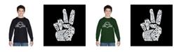 LA Pop Art Boy's Word Art Long Sleeve T-Shirt - Peace Fingers