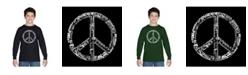LA Pop Art Boy's Word Art Long Sleeve T-Shirt - The Word Peace in 77 Languages