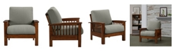 Handy Living Maison Hill Mission Style Arm Chair with Exposed Cherry Wood Frame