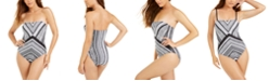 Kenneth Cole Printed Strapless One-Piece Swimsuit