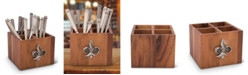 Vagabond House Square Caddy Acacia Wood Flatware, Serve Ware, Utensil, Carry-All Holder with Solid Pewter Fleur De Lis Accent, 4 Compartments