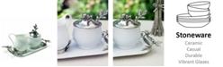 Vagabond House Stoneware Creamer Set of 5 Pieces - Cream Pitcher, Lidded Sugar Bowl, Decorative Handle Sugar Spoon and Tray