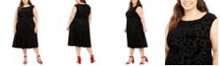 Tommy Hilfiger Plus Size Cap-Sleeve Velvet Burnout A-Line Dress