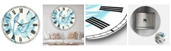 "Designart Blooming Blue Large Mid-Century Wall Clock - 36"" x 28"" x 1"""