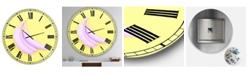 "Designart Pink Banana Large Modern Wall Clock - 36"" x 28"" x 1"""