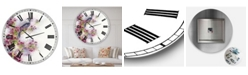 "Designart Cherry Blossom Days Large Cottage Wall Clock - 23"" x 23"" x 1"""