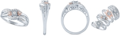 Macy's Diamond Promise Ring (1/4 ct. t.w.) in Sterling Silver & 14k Rose Gold-Plate