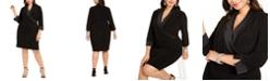 Jessica Howard Plus Size Tuxedo-Collar Sheath Dress