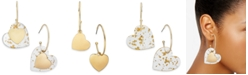 INC International Concepts INC Gold-Tone Resin Heart Drop Earrings, Created For Macy's