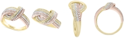 EFFY Collection EFFY® Diamond Love Knot Statement Ring (1/2 ct. t.w.) in 14k Gold & Rose Gold