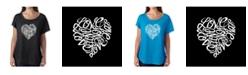 LA Pop Art Women's Dolman Cut Word Art Shirt - Love