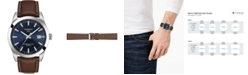 Tissot Men's Swiss Automatic T-Classic Gentleman Powermatic 80 Silicium Brown Leather Strap Watch 40mm