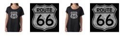 LA Pop Art Women's Dolman Cut Word Art Shirt - Cities Along The Legendary Route 66