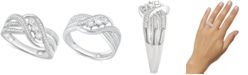 Macy's Diamond Three-Stone Overlap Statement Ring (1/4 ct. t.w.) in Sterling Silver