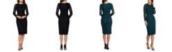 XSCAPE Lace Soutache Dress
