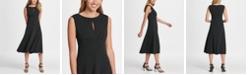 DKNY Pleated Empire Waist Midi Fit & Flare Dress