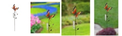 Creative Motion Painted Butterfly Metal Garden Stakes with Rain Gauge