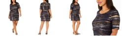 Connected Plus Size Tiered Metallic Sheath Dress