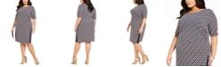 Connected Plus Size Chain-Print Sheath Dress