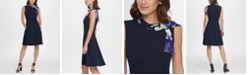 DKNY Pleated Chiffon Sleeve V-Neck Sheath Dress