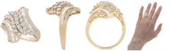 Macy's Diamond Swirl Cluster Statement Ring (1 ct. t.w.) in 10k Gold
