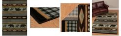 "Asbury Looms Designer Contours Cem Manitou 511 31360 28C Blue 2'7"" x 7'4"" Runner Rug"