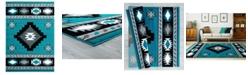 "Asbury Looms Bristol Caliente 2050 10469 69 Turquoise 5'3"" x 7'6"" Area Rug"